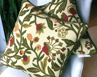"""One pair of crewel Scalamandre pillows with green velvet mohair back and self welt - 21"""" X 21"""""""
