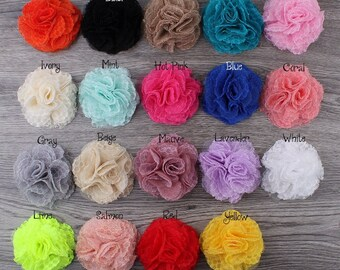 7cm 19 Colors Newborn Chic Shabby Wool Mesh Flowers For Baby Hair Accessories Artificial Fabric Flowers For Headbands Hair Clips