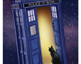 Tardis Cat 11x17 Poster