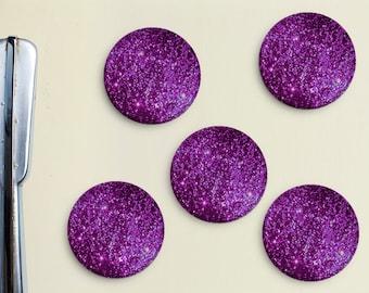 Glitter Magnets - Purple, Magenta, Pink, Girly, Office, Organization, Home Office, Refrigerator, Fridge, Glitzy, Locker Magnet, Organize