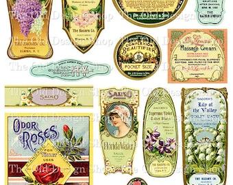 Vintage Beauty Perfume Labels Printable Clip Art Digital Collage Sheet
