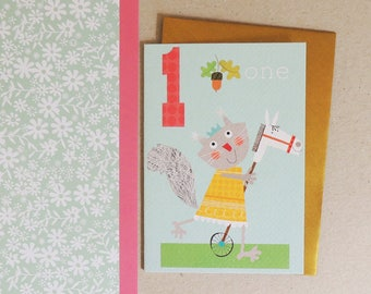 Age One Girls Birthday Card | age card | number card | happy birthday | birthday party | age one | blank inside