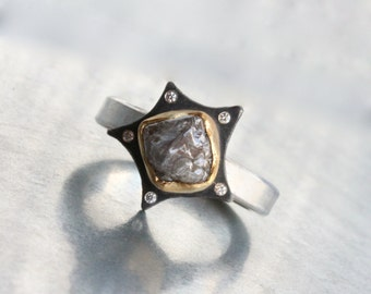 Rough Gray Diamond Star Engagement Ring Oxidized Silver 22k Yellow Gold 5 Sparkly White Diamonds Romantic Bridal Band - Meteoric Star