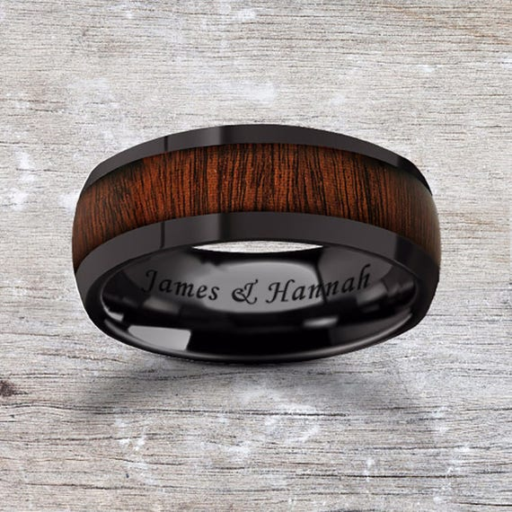 Custom Personalized Engraved Domed Rose Wood Inlay Black Ceramic Ring - 8mm Available - Lifetime Size Exchanges