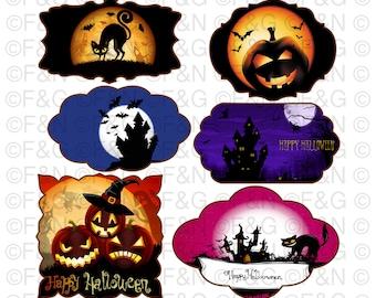 HALLOWEEN Digital TAGS - labels, Digital Graphics, Pumpkins, Halloween, Craft, Scrapbooking, Cartonnage - PACK 1