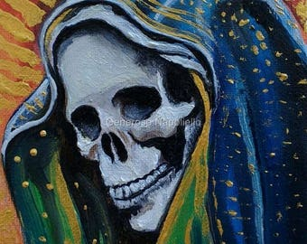 La Santa Muerte ( n* 7 ) A3 Print from Original Oil Painting Folk Art Only Death Mexican Art Day of the Dead