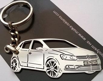 Volkswagen Keychain, VW Keychain, VW Polo, fathers day gift, Personalized Key Chain, Custom Keyring, personalised keyring, birthday gift