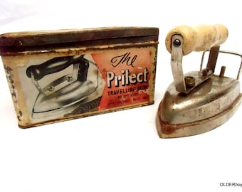 Vtg TRAVEL IRON Collectible the PRILECT travelling iron withrare tin and Bayonet Cap Connector F03/133
