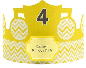 8 Custom Party Hat - Chevron Yellow Birthday Party Supplies - Set of 8