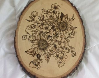 Sunflower Woodburned Wall Plaque Room Decor