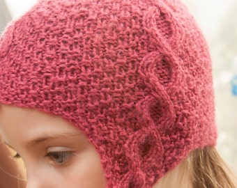Pink Cabled Hat with braids for 2-4 year old girls