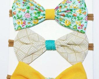 Fabric hairbow,Tuxedo bow,preemie headband,toddler headband,baby headband,bowtie,nylon headband
