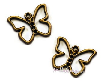 Set of 5 charms bronze embellishment butterflies scrapbooking card *.