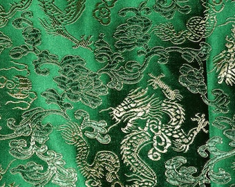 Green satin Chinese Brocade fabric Chinese embroidery dragons Asian Dragon Chinese Dragon golden dragon fabric