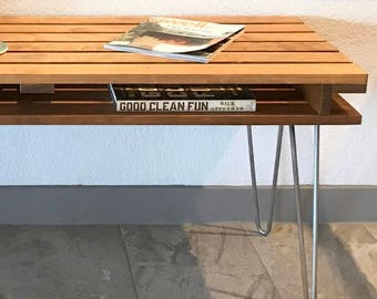Slat Bench Coffee Table, Mid Century Modern, Retro, Hairpin Legs, TV, Entertainment Center, Media Console