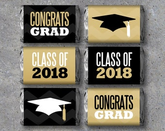 Graduation Mini Candy Bar Wrappers – Instant Printable Files – Party Favors in black and gold – Graduation Gift – DIY Graduation Party Ideas