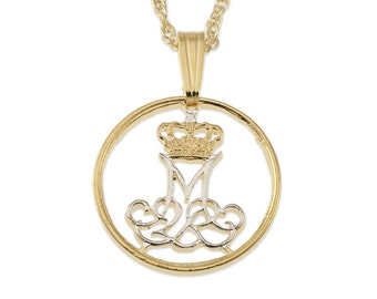 """Denmark Jewelry Pendant and Necklace, Denmark Five Ore coin Hand Cut, 14 Karat Gold and Rhodium Plated, 5/8"""" in Diameter, ( # 83 )"""