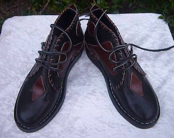Boot, leather, dark brown handcrafted boot shoe