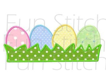 Easter eggs applique machine embroidery design instant download