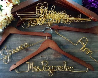 SALE Set of 11 Bridesmaid Hangers, Set of eleven hangers, Bride Hanger, Name Hanger, Wedding Hanger, Personalized Bridal hanger, Bridal Gift