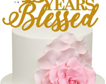 15 Years Blessed 15th Wedding Anniversary Acrylic Cake Topper
