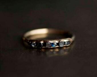 Raw Blue Sapphire Ring. Blue Sapphire Ring. Blue Sapphire Engagement Ring. Blue Sapphire Band. Blue Sapphire Wedding Band