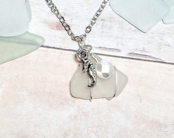 Sea Glass Necklace Women's Authentic Beach Glass Mothers Day Gift Seahorse Necklace Mom Sister