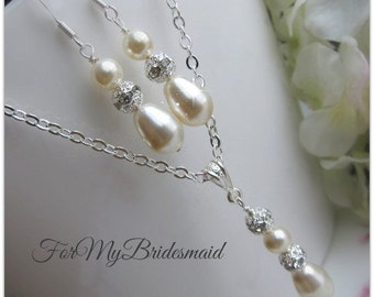 Crystal Bridal Necklace Earrings Wedding Jewelry Swarovski Crystal and Pearl Necklace and Earrings Bridal Jewelry Pearl Drop Necklace Set