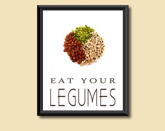 Healthy Diet Eat Your Beans Legumes Kitchen Art Decor DIGITAL PRINT