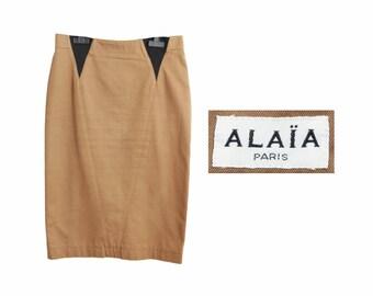 80s AZZEDINE ALAIA skirt, brown black pencil skirt, French designer high waist secretary skirt L XL / Jupe crayon marron années 80 42