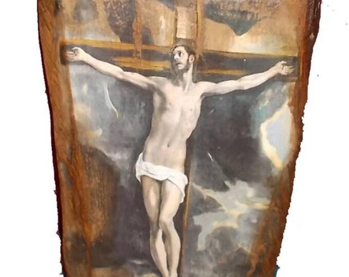 Wooden icon of the  crucifixion of Dominikos Theotokopoulos ,El Greco icon,jesus icon