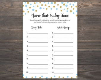 Blue and Gold Baby Shower Games, Name that Baby Tune, Name that Baby Song, Name that Song Game, Boy Baby Shower, Printable Shower Game, S005