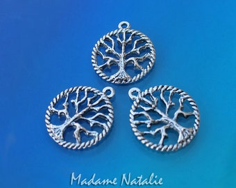 Tree of Life Charms (6), Antique Silver Doublesided Tree Charms 22mm, Small Tree of Life Pendants, Tibetan Silver Round Tree Charm