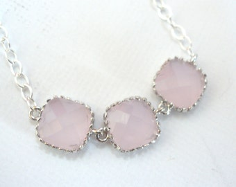 Pink Necklace, Bridesmaid Jewelry, Silver Pink, Sterling Silver Necklace, Light Pink, Bridesmaid Necklace, Bridal Jewelry, Bridesmaid Gifts