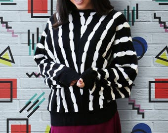 Vintage 1980's Black and White Wavy Striped Batwing Oversized Cozy Pullover Sweater