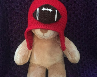 Red Crochet Earflap Hat with Football Embellishment