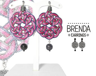 Brenda 1. Fabric. Light. Round. Round earrings.