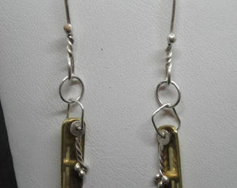 SB Series #9 - Silver and Brass earrings