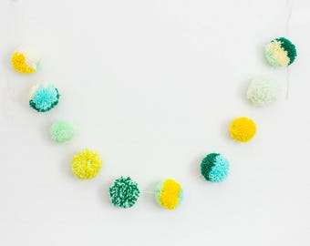 Green and Yellow Pom Pom Garland