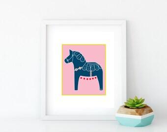 Pink Dala Horse Art Print, Instant Digital Download