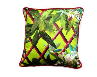 Botanical neongreen, cotton cushion cover, Designers Guild's Christian Lacroix Canopy, tropical leaves throw pillow cover, home decor.
