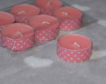 Set of 6 tealight candles scented patterned pink with white polka dots