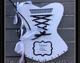 Black and white corset guestbook