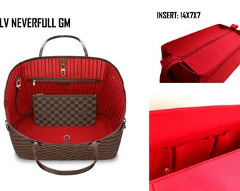 Purse organizer for Louis Vuitton Neverfull GM with Zipper closure- Bag organizer insert in Rich Red