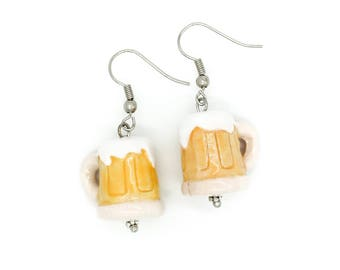Handpainted Ceramic Beer Mug Earrings