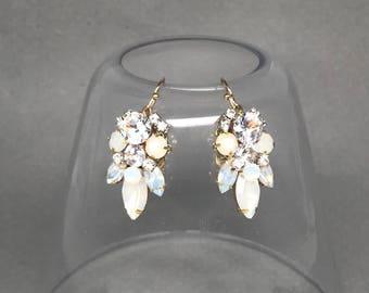 White Opal Rhinestone Earrings- Rhinestone Bridal Earrings- White Wedding Earrings- Opal Crystal Bridal Earrings- Swarovski Dangle Earrings