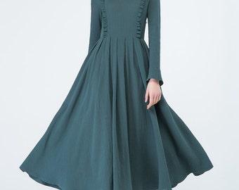 dark green dress, linen dress, spring dress, pleated dress, wedding dress, ruffle dress, bridesmaid dress, party dress, tunic dress 1701