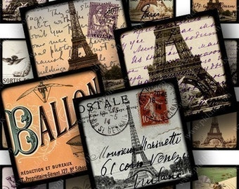 Framed French Ephemera in .85 inch sq for scrabble tiles and more -- piddix digital collage sheet 642
