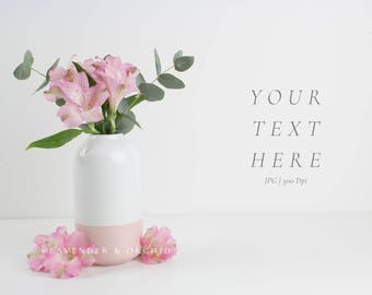 Styled stock photography, Floral stock image, Pink flowers and eucalyptus, Feminine stock photo, Blog images, Website photos, Social media