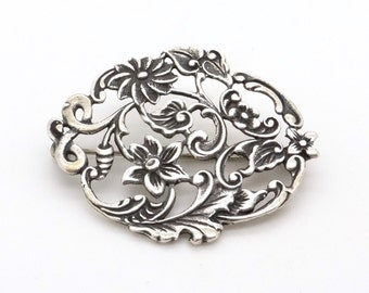 Antique 835 Silver Pin / Brooch - Big Flower Ornament Brooch - Handcrafted Openwork Silver Brooch - Victorian / Edwardian Jewelry
